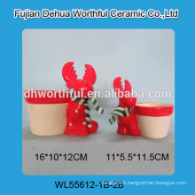 Red reindeer shaped ceramic flower pot in high quality