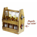 Wooden Beer Carrier with Bottle Opener and Magnetic Cap Catch