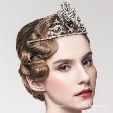 Fashion Queen Red Crystal Couronne et Tiara Pure White Gold Crown Tiara