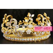 Dourado AB cristal claro flor casamento tiara rodada coroa