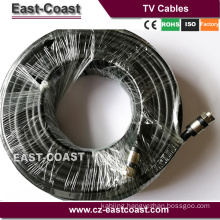 RG6 TV Black Coaxial Cable with F-Male Connectors Double Shielded