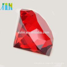 Big 60mm Cristal Charme Vermelho Paperweight Cut Glass Gigante Diamante Jóias