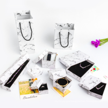 Custom Logo Cardboard Marble Ring Necklace Box with Foam Velvet Insert Kraft Packaging Paper Jewelry Box