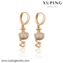 92796- Xuping Newest style number 5 gold earrings jewelry
