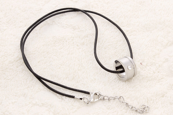 Black Braided Flax Wax Rope Cord Necklace