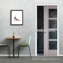 Space saving glass interior pocket door