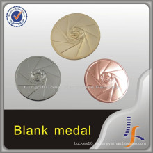 Medalla en blanco de fundición de plata dorada de cobre 3D