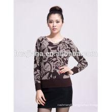 fashion printing V neck women's cashmere sweater