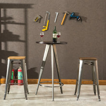 Industrial Round Bar Wooden Table Top with Steel Leg (SP-BT705)