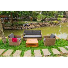 Простой Дизайн Поли Ротанга Патио Комплект Софы Сада Все Погода Плетеная Мебель 001