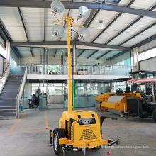 La tour de lumière d'inondation extérieure a mené la tour d'éclairage de générateur d'essence de remorque FZMTC-1000B