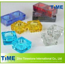 Feste farbige Glasquadra Teelicht Kerzenhalter