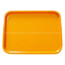 Plateau en plastique carré orange avec finition anti-dérapante (TR002)