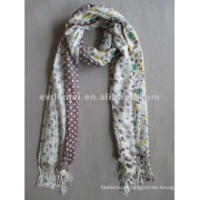Floral and dots printed acrylic woven scarf
