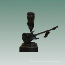 Büsten Messing Statue Bass Player Dekoration Bronze Skulptur Tpy-755
