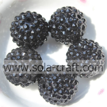 Hot Sale 18*20MM Acrylic Resin Rhinestones Round Beads Black Color