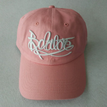 Pink Unstructured Hat 3D embroidery Baseball Cap for Woman/girl