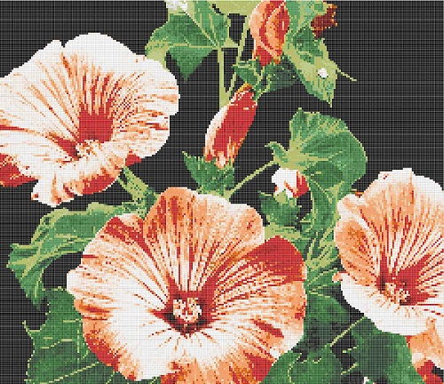 Handmade Glass Mosaic Tiles Morning Glory Art Mural