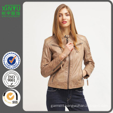 2016 Good Price Ladies Fashion PU Fleece Jacket