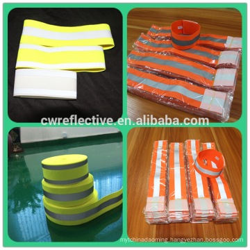 fluorescent yellow reflective elastic arm band for sports