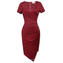 Belle Poque Women Short Sleeve V-Neck Asymmetrical Hips-Wrapped Wine Bodycon Pencil Dress BP000363-2