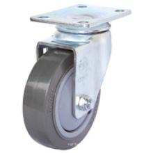 Roulette en PU pivotante à usage moyen (gris) (surface plane)