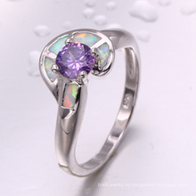Modeschmuck 2018 Großhandel Rhodium überzogene lila Zirkon und Opal Ring