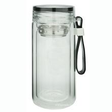 Двойная стенка стеклянная бутылка с петлей