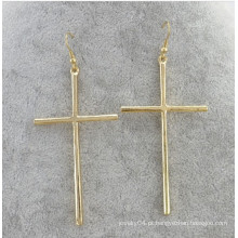 Fornecedor do alibaba, 2014 ouro da forma chapeado brinco de gota com cruz para mulheres