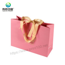 Creative Gold Foil-Stamping Packaging Gift Bag with Ribbon Handles
