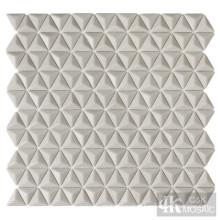 Ladrilhos de chuveiro de mosaico de vidro 3D bege para venda