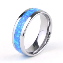 Blue Opal Inlay Tungsten Ring te koop