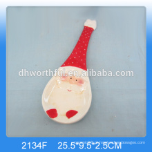 Titular de cerâmica personalizado colher de Natal com pintura santa