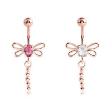 Rose Gold Double Jewelled Belly Ring Dragonfly