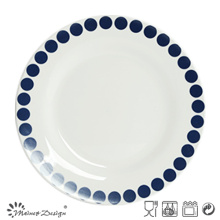 27cm Ceramic Dinner Plate with Blue Dots Circle Design