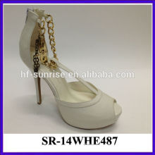 White sexy ladies platform high heel sandal metal ornament red upper girls high heel sandals pictures