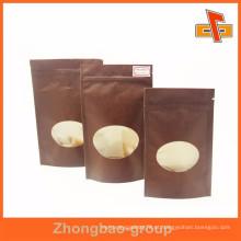 Tamanho personalizado kraft nozes saco de papel com janela oval e zíper fabricante