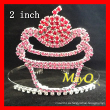 Corona de la tiara del rhinestone del desfile del dulce de la torta para los cabritos