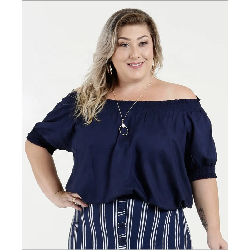 Frauen Plus Size Off Schulter Schulter Bluse