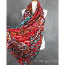 Moda feminina lenço de seda impresso flor viscose (yky1022-1)