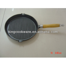 Seasoned Cast Iron Grill Pan with Detachable Handle