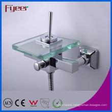Fyeer Single Lever Handle Glass Bath Mixer Faucet with Diverter