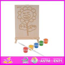 2014 nouveau jeu enfants en bois main peinture jouet, populaire bricolage enfants main peinture jouet, vente chaude éducatif bébé main peinture jouet W03A044