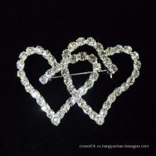 2015 новых сердца форме кристалла брошь контакты для свадебного платья