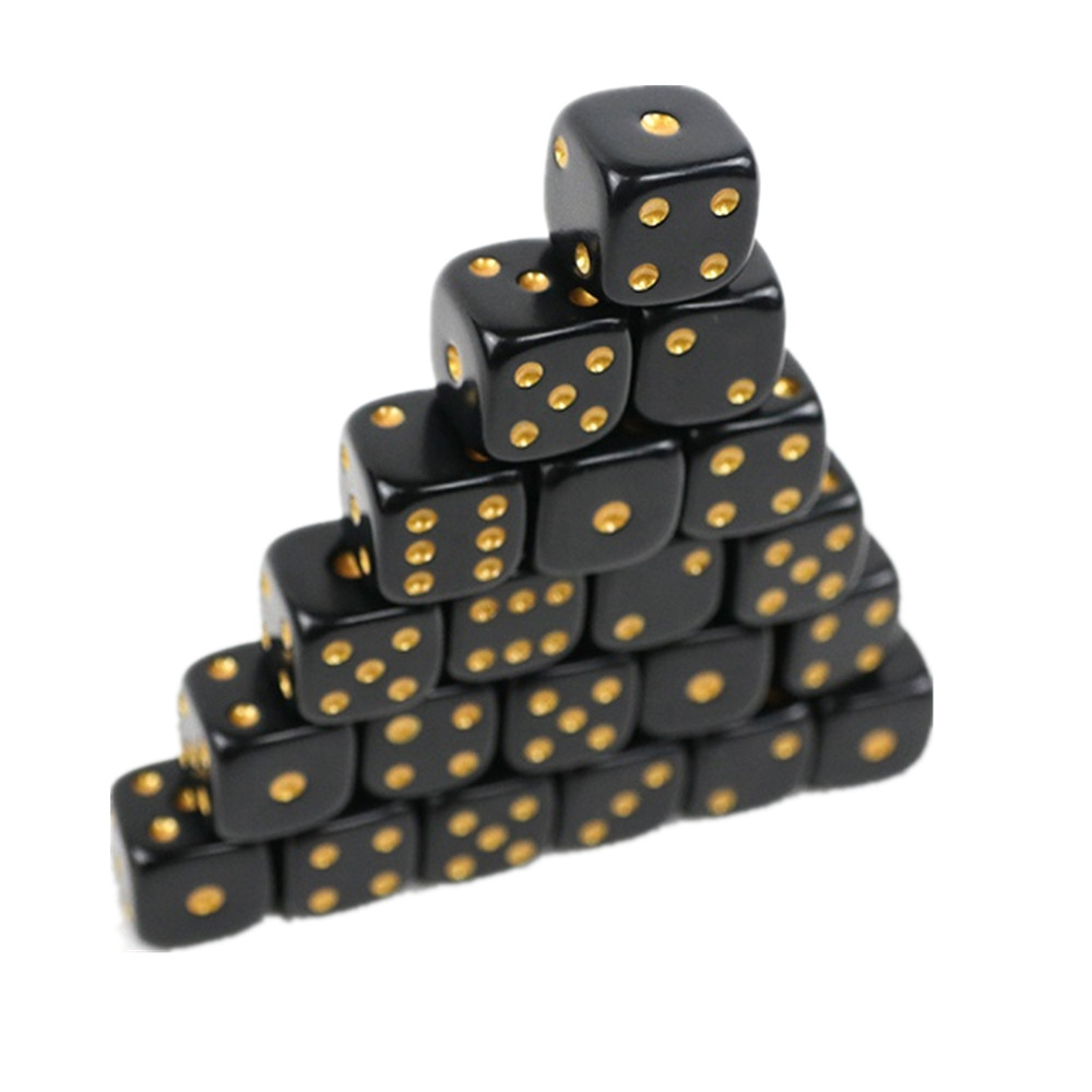 Acrylic Black Dice With Golden Dots