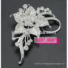 Casual broche de cristal claro de la flor