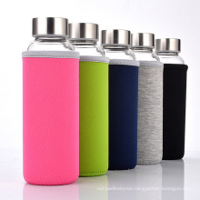 Custom Logo cheap glass cup clear glass water bottles with sleeve