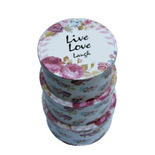 Flower Slogan Printing Paper Round Gift Box Set / Quality Round Packing Display Boxes