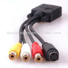 SVGA VGA для S-Video 3 RCA композитный кабель AV TV S-Video конвертерный кабель
