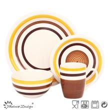 Plaque de dîner cercles orange et marron 16PCS